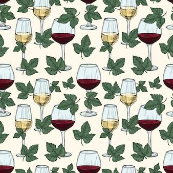 Weiß- und rotwein, weinrebenblätter nahtloses muster