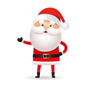 Weißbärtiger weihnachtsmann, der hand gestikuliert