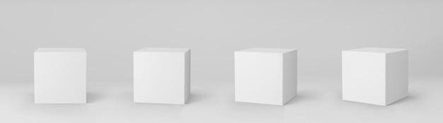 Weiße 3d würfel gesetzt mit perspektive isoliert