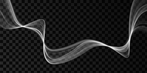 Weiße abstrakte welle. magisches liniendesign. bewegungselement der flusskurve. wellenförmige illustration mit neongradienten.