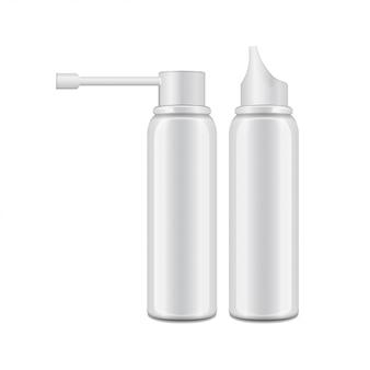 Weiße aluminiumflasche mit sprühgerät für mund- und nasenspray.