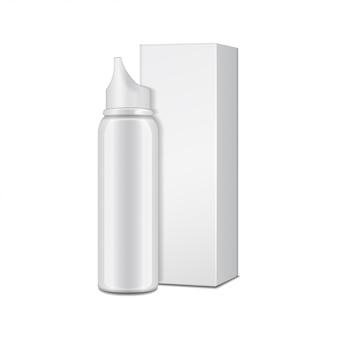 Weiße aluminiumflasche mit sprühgerät für nasenspray mit pappkarton.
