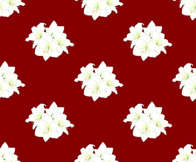 Weiße amaryllis auf rotem hintergrund