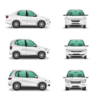Weiße autos vorne und seitenansicht