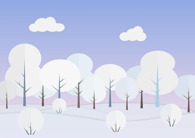 Weiße bäume in der winterwaldillustration