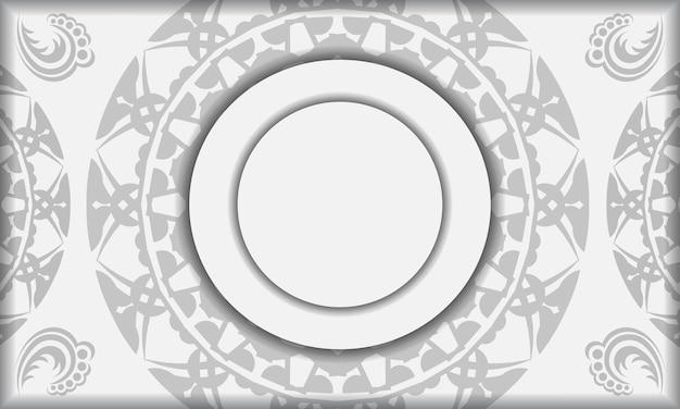 Weiße banner-vorlage mit schwarzen mandala-ornamenten und platz für ihr logo. designhintergrund mit griechischen mustern.