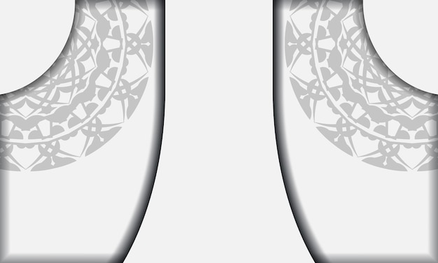 Weiße banner-vorlage mit schwarzen mandala-ornamenten und platz für ihr logo und ihren text. druckbare design-hintergrundvorlage mit griechischen mustern.