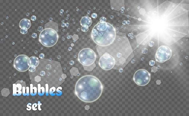 Weiße blasenillustration. seifenblasen.