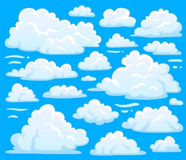 Weiße blaue tageskumuluswolkensymbolform oder cloudscape hintergrund.