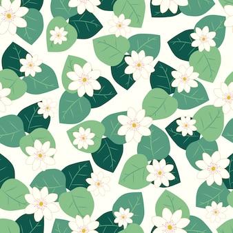 Weiße blüten mit nahtlosem muster der blätter