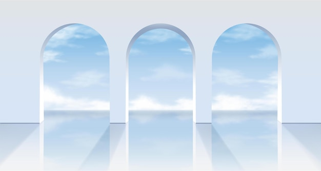 Weiße bögen mit blick auf den blauen himmel.