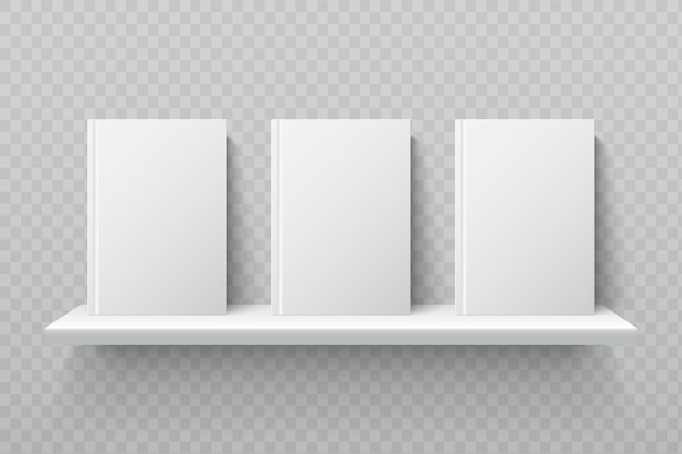 Weiße bücher im bücherregal. leere schulbücher im modernen büroinnenmodell. bücherregal für bibliothek, regal für bücher bildung illustration