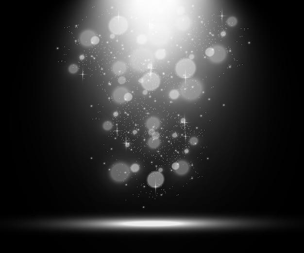 Weiße bühne mit scheinwerferillustration eines lichts mit funkelt auf einem transparenten hintergrund