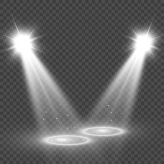 Weiße bühne mit scheinwerfern. illustration eines lichts mit funkeln auf einem transparenten hintergrund.