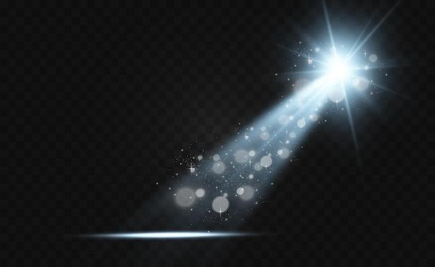 Weiße bühne mit scheinwerfern. licht mit funkeln auf transparentem hintergrund.