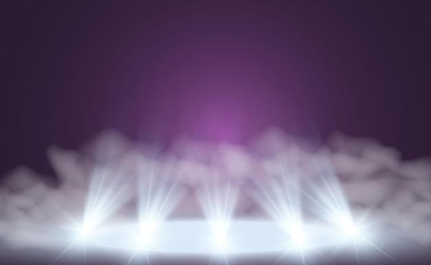 Weiße bühne mit scheinwerfern vektorillustration