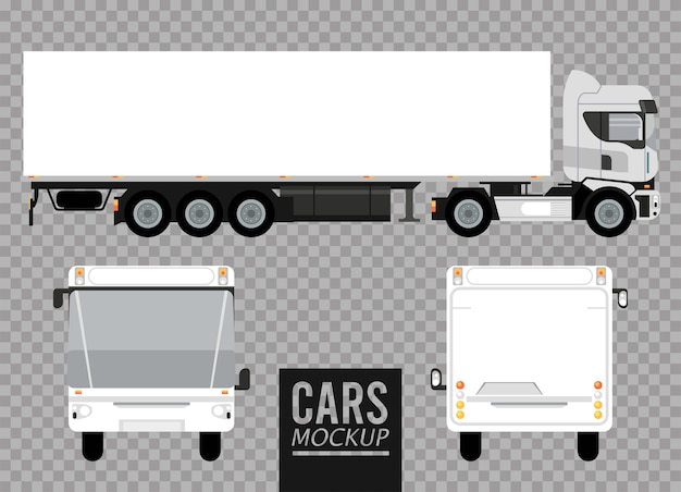 Weiße busse und große lkw-modellautos