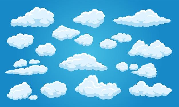 Weiße cartoon-wolken süß bewölkter blauer himmel 2d-spiel-comic-elemente-set