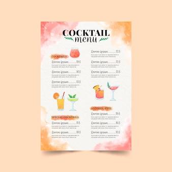Weiße cocktailkarte mit bunten illustrationen
