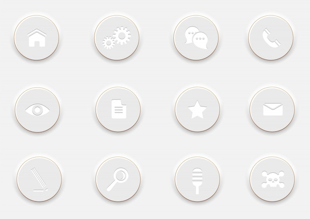 Weiße computer ikonen auf runden knöpfen