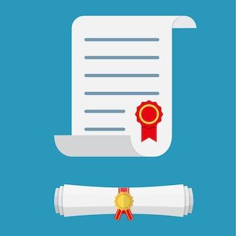 Weiße diplomrolle aus aufgerolltem und gerolltem papier mit gelbem stempel und roten bändern.