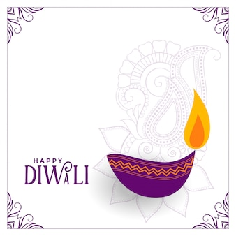 Weiße diwali abbildung mit purpurrotem diya