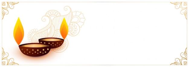 Weiße diwali festivalfahne mit zwei diya