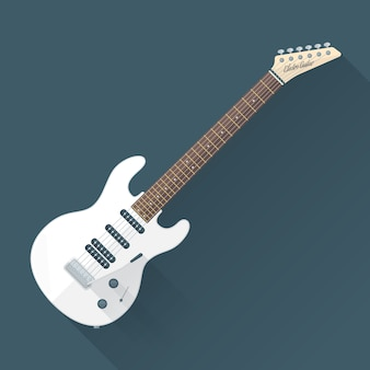 Weiße e-gitarre mit schatten