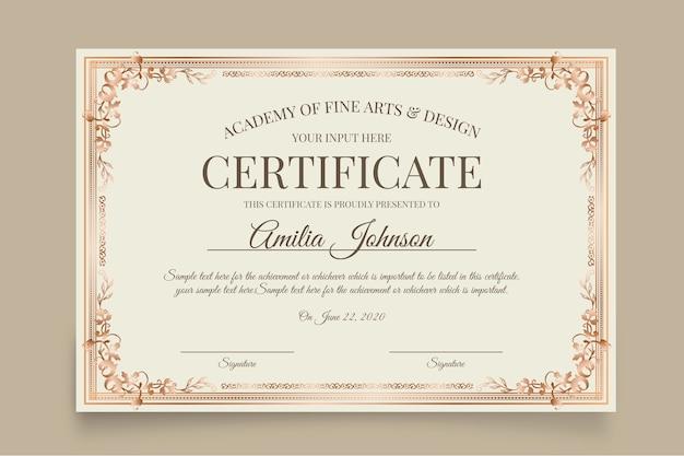 Weiße elegante zertifikatvorlage