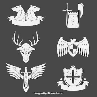 Weiße embleme der ritter