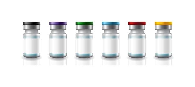 Weiße etiketten für medizinische impfstoffflaschen aus leerem glas mit 6-farben-metallkappenschablone.