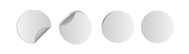 Weiße etiketten, runde papieraufkleber mit abblätternder ecke und schatten, runde papierkleber mit gebogener ecke
