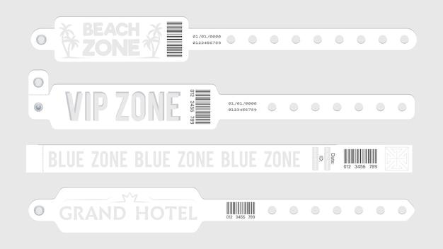 Weiße event-armbänder. party-eintrittskarten, armband