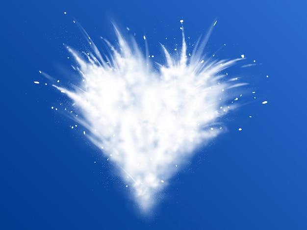 Weiße explosion des schneepulvers