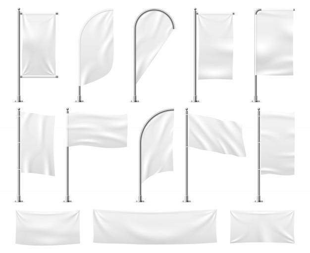 Weiße fahnen gesetzt. leeres banner modell leere wellende stoff leinwand poster wimpel strand werbung flagge vorlage