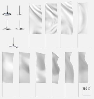 Weiße fahnen. realistische modelle von flaggen mit falten. vektor