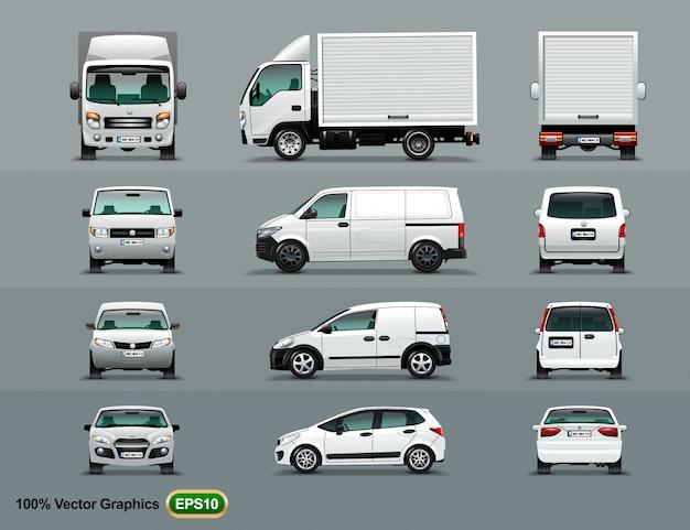 Weiße farbe des autos in drei positionen.