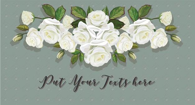 Weiße farbe des rosenblumenstraußes auf thailändischer linie kunstgrünhintergrund