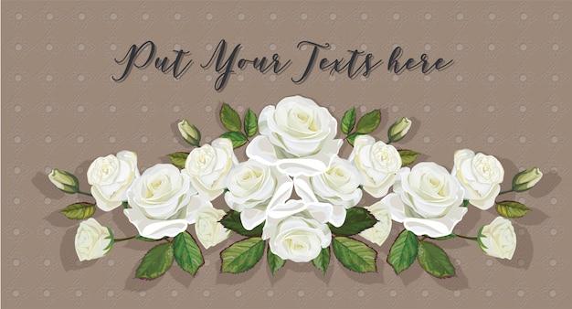 Weiße farbe des rosenblumenstraußes auf thailändischer linie kunsthintergrund