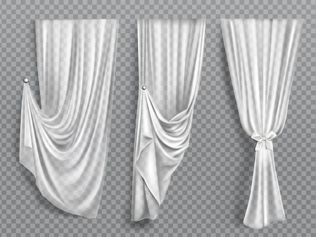 Weiße fenstervorhänge auf transparentem hintergrund