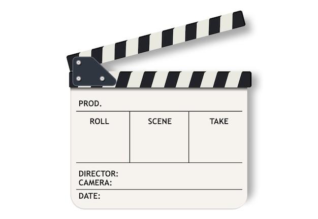 Weiße filmklappe schiefer.