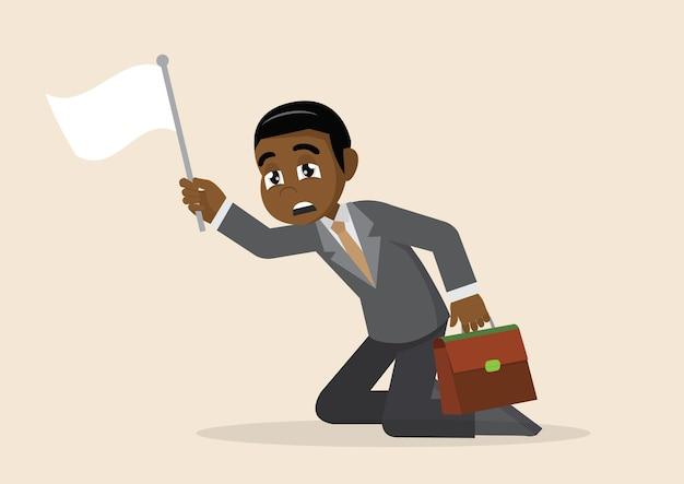 Weiße flagge des afrikanischen geschäftsmannes der auslieferung.