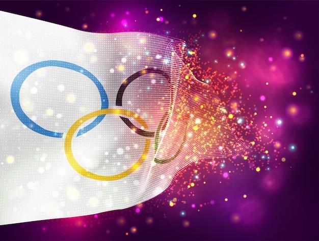 Weiße flagge mit olympischen ringen vektor 3d-flagge auf rosa lila hintergrund mit beleuchtung und fackeln