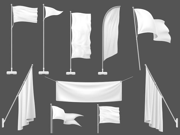 Weiße flaggen, leeres leinwandbanner und stofffahne auf fahnenmastschablonenillustration