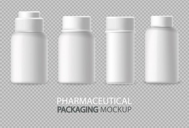 Weiße flaschen realistisch isoliert. leeren container bewerben. detaillierte abbildungen für kosmetik, medizin oder zahnpasta 3d