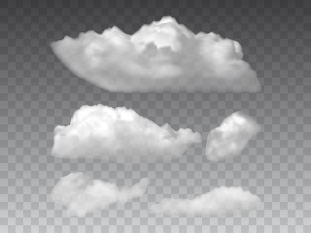Weiße flauschige wolken auf grauem hintergrundvektor isoliert
