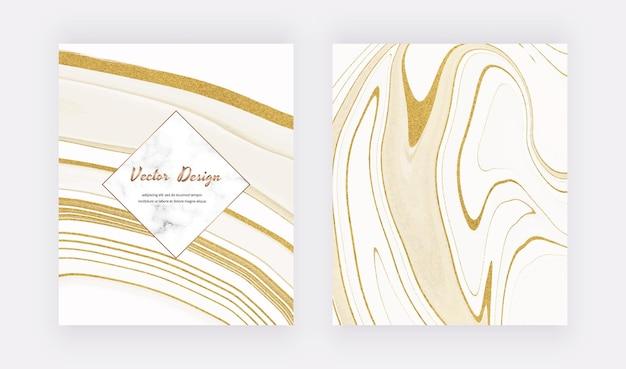 Weiße flüssige tinte mit goldenen glitzerabdeckungen