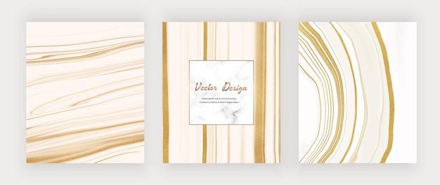 Weiße flüssige tinte mit goldglitter und marmorrahmen.