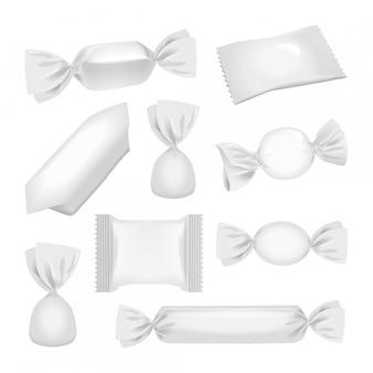 Weiße folienpackung für süßigkeiten und andere produkte, realistische imbisspackung
