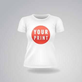 Weiße frau t-shirt mit kurzen ärmeln verspotten